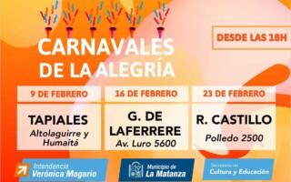 """""""Carnavales de la Alegría""""  Arrancan los Pre Carnavales en La Matanza"""