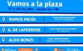 """ESTAS VACACIONES """"VAMOS A LA PLAZA""""  EN RAMOS MEJÍA, GREGORIO DE LAFERRERE y ALDO BONZI"""