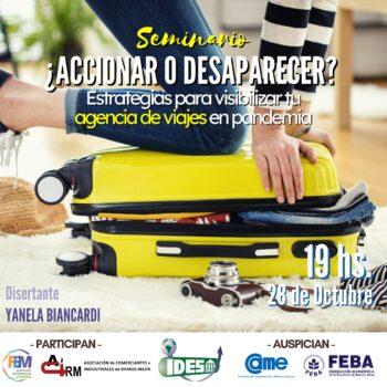 """Instituto IDES te invita a participar del """"Seminario Gratuito:¿ACCIONAR O DESAPARECER? Estrategias para visibilizar tu agencia de viajes en pandemia"""