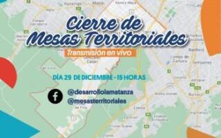 Las Mesas Territoriales de la Secretaría de Desarrollo Social La Matanza cerrarán el año de manera virtual